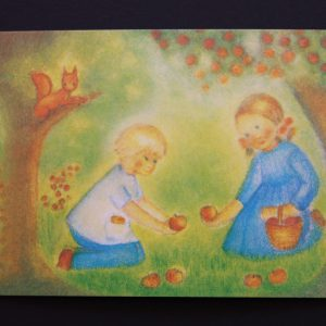 Postkarte Apfelernte